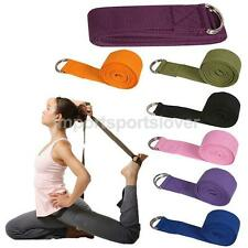Cotton D-Ring Yoga Stretch Strap Training Belt Figure Waist Fitness Exercise Gym