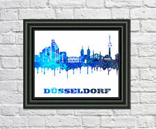 Dusseldorf Skyline Print City Silhouette Abstract Poster Art Dusseldorf Outline