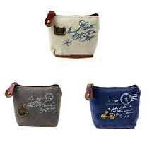 Retro Women's Small Canvas Purse Mini Bag Lady's Zip Wallet Coin Key Holder Case
