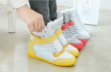 2016 Hot Womens Velcro High Top Skateboarding Wedge Sneakers Lace Up Shoes Boots