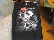 M Black ENDLESS LOVE death mask, skull, rose, angel wings low rider, t-shirt.