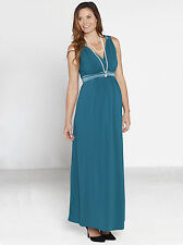 "Angel Maternity ""Sue"" Pregnancy Evening Party Dress in Teal - NEW 8030D"