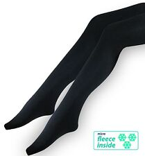 3 black Thermal Ladies Tights - Soft brushed Fleece-Lined - warm and opaque