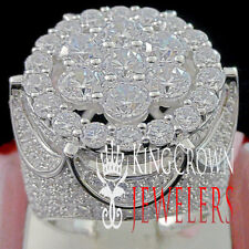 MENS BIG BOLD WHITE GOLD SILVER FULL ICED OUT BIG FACE JUMBO  PINKY RING BAND