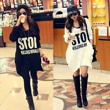 Korea Long Women Pullover White Stylish ! T-shirts Jumper Fashion Hot Hoodie Lon