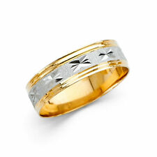 14K TWO TONE GOLD MENS MANS WEDDING BAND RING 5MM