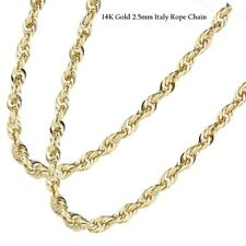 14K Yellow Gold 2.5mm Italy Rope Chain Twist Link Necklace 16,18, 20, 22, 24
