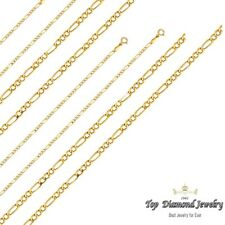 14k Yellow Gold 2mm Italy Figaro White Pave Diamond Cut Link Chain Necklace