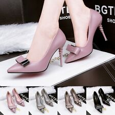 New OL Womens Ladies High Heels Pointed Toe Pumps Stilettos Work Bow Party Shoes