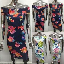 New Womens Celebrity Inspired Off Shoulder Floral Bardot Midi Party Dress 8-14