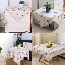 yazi Embroidered Flower Lace Square Tablecloth Dining Table Cover Cotton Linen