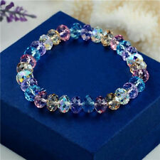 Lady Girl Fashion Crystal Faceted Loose beads Bracelet Stretch Bangle Elegant