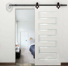 New diamond Wood Sliding Barn Door Hardware Rustic Black Track Kit 8/10/12/13 FT