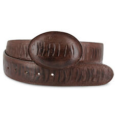 New Mens Mocha Exotic Cowboy Western Ostrich Leg Print Leather Belts Size 32-48