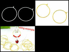 25mm (internal) Diameter Silver or Gold Plated Wine Glass Rings / Earing Hoops