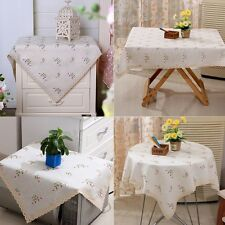 Embroidered Floral Lace Cotton Linen Tablecloth Home Decor Table Protector Cover
