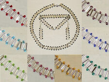 zss Zigzag Beaded Chain Necklace/Bracelet/Earrings party set (silver/various)