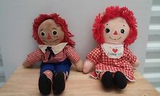 Vintage Raggedy Ann and Andy Dolls 15 inches high by Knickerbocker