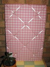 Large 60x40 Laura Ashley Pink Gingham fabric notice / memo / pin / memory board
