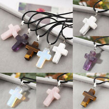 Natural Quartz Crystal Stone Chakra Healing Gemstone Cross Pendant Necklace Gift