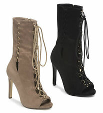 Ladies Womens High Heel Stiletto Lace Up Peep Toe Gladiator Calf Ankle Boots