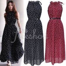 Sexy Women's Long Chiffon Polka Dots Party Cocktail Prom Summer Beach Maxi Dress