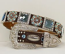 Atlas Western Womens Leather Belt Rhinestone Conchos Brown