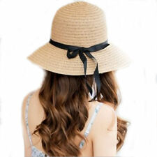 New Floppy Foldable Ladies Women Straw Beach Sun Summer Hat One Size Wide Brim