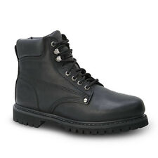 "New Mens Black 6"" Plain Toe Leather Work Steel Toe Boots BAT-610 Size 6-12 (D,M)"