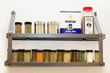 2 Tier Spice Rack in Hammered Steel and Black Wood [ID 41752]