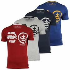 Mens T Shirt Crosshatch Crew Neck Graphic Short Sleeved Casual Cotton Top S-XXL