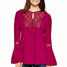 Coffee & Cake Bell-Sleeve Lace-Trim Hatchi Knit Peasant Top Size M Msrp $44 New