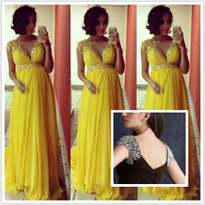 New Chiffon V Neck Shiny Beaded Prom Gown Maternity Pageant Evening Party Dress