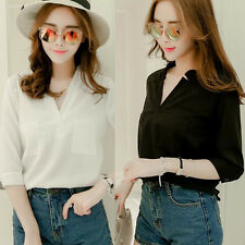 Korea Women's Chiffon Blouse Top V Neck Pocket 3/4 Sleeve Slim Blouses Shirt New