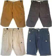 "Mens Crosshatch Plain Chino/Cargo Shorts 100% Cotton Pockets Zip Fly 30"" Waist"