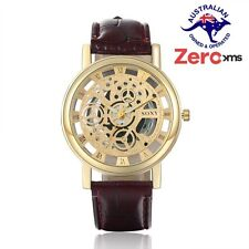 Mens Luxury Stainless Steel Automatic Mechanical Skeleton Sport Wrist Watch SOXY