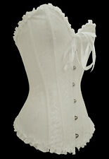 CORSET VICTORIAN WHITE TIGHT SIZE TOP TOP BROCADE SEXY LINGERIE (5085-1)