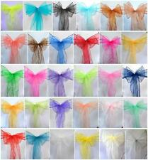 200 PCS Organza Chair Cover Sash Bow Wedding Anniversary Party Reception  Bows
