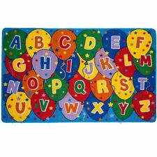 Mybecca Kids Rug ABC Balloons Children Area Rug - Non Skid Gel Backing 5' X 7'