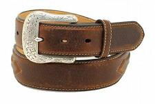 Ariat Western Mens Belt Leather Stitched Concho Brown A10214282
