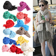 Pleated Woman Scarf Wrap Long Crinkle Shawl Soft Cotton Voile Candy Color