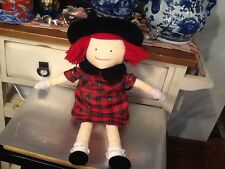 Vintage 1990  Eden Doll Madeline Black Hat Plaid Dress Lovey Plush Girl Toy 20""