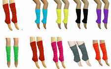 New Ladies Girls Teen 80's Dance Plain Ribbed Leg Warmers Legwarmers 15 Colours