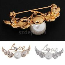 Fashion Angell Wing Pearls Design Brooch Pins Costume Jewelry