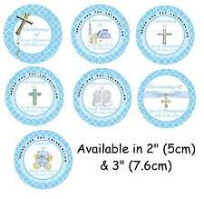 Personalised CHRISTENING/ BAPTISM BOY Self Adhesive Glossy Labels/Stickers