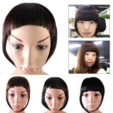 Women Girls Natural Clip In Front Neat Bang Straight Fake Fringe Hair Extension