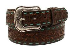 Ariat Western Mens Belt Leather Laced Floral Turquoise Brown A1025202