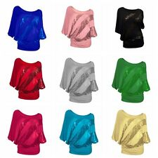 Unique Women Long Sleeve Sequins Solid T-Shirts Casual Tank Tops Blouse S-XXL