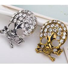 Silver Gold Alloy Broach Cross Rhinestone Skull Head Brooch Pin Halloween Gift