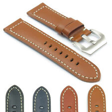 DASSARI Monaco Leather Watch Band Strap for Panerai w Brushed Steel Pre-V-Buckle